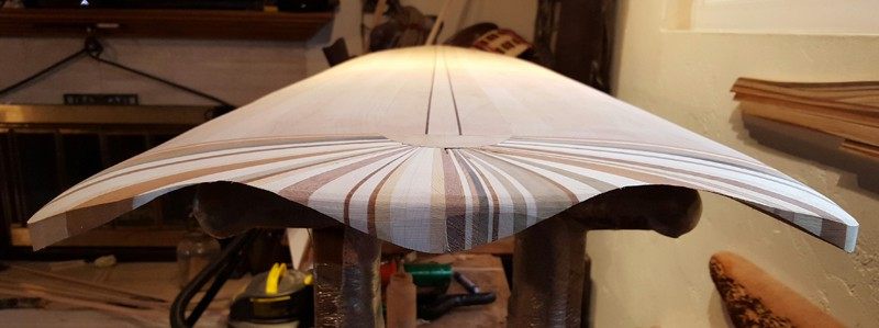 the bottom edge of a surfboard