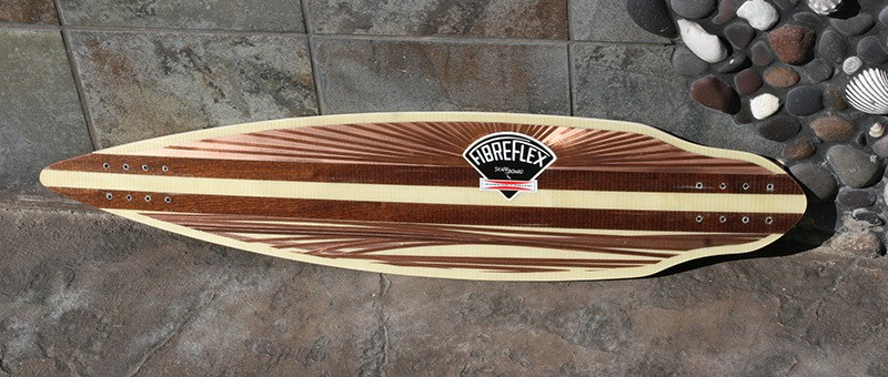 A wood inlay skateboard
