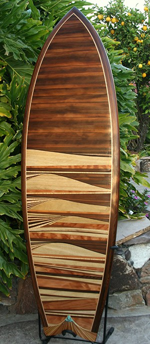 Reclaimed old growth redwood from wine tank used at a winery - surfboard - btm - Michael Rumsey