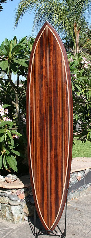 A beautiful wood inlay surfboard