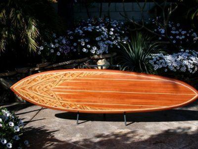 A beautiful wood inlay surfboard